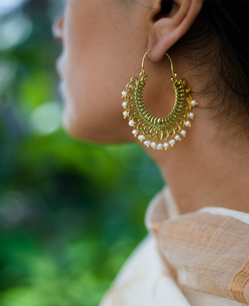 Chand Bala design earrings with freshwater pearls