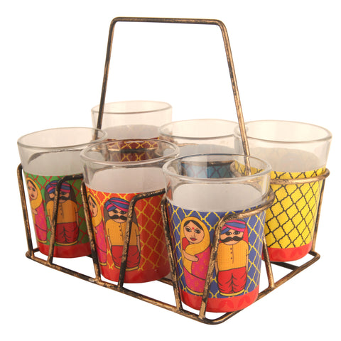 ALL THINGS SUNDAR TAPRI GLASS SET OF 6 BABUSHKA K02-125