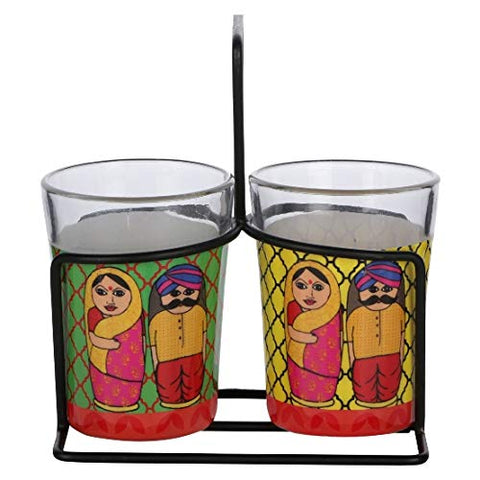 ALL THINGS SUNDAR TAPRI GLASS SET OF 2 BABUSHKA K09-125