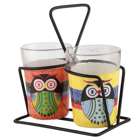 ALL THINGS SUNDAR TAPRI GLASS SET OF 2 OWL K09-148