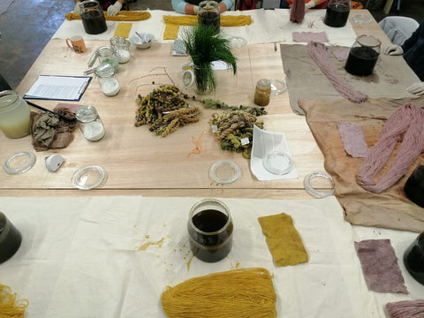 Table with dyes