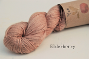 Elderberry dyed yak and silk yarn