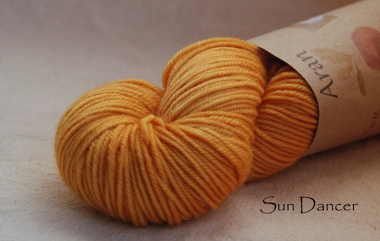 Sun dancer aran yarn naturally dyed with onions