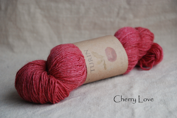 Turin ~ Cherry Love  naturally dyed yarn with Cochineal