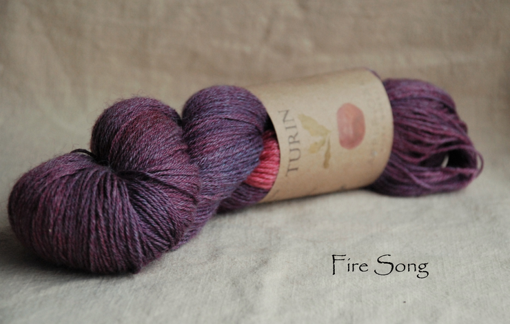 Turin ~ Fire Song  naturally dyed yarn with Cochineal and Organic Indigo