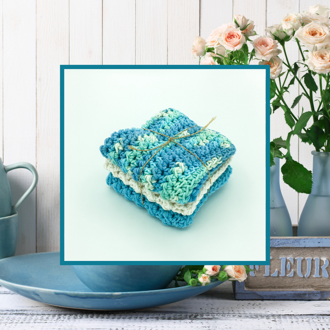 Crocheted Dishcloth Set - Blueberry