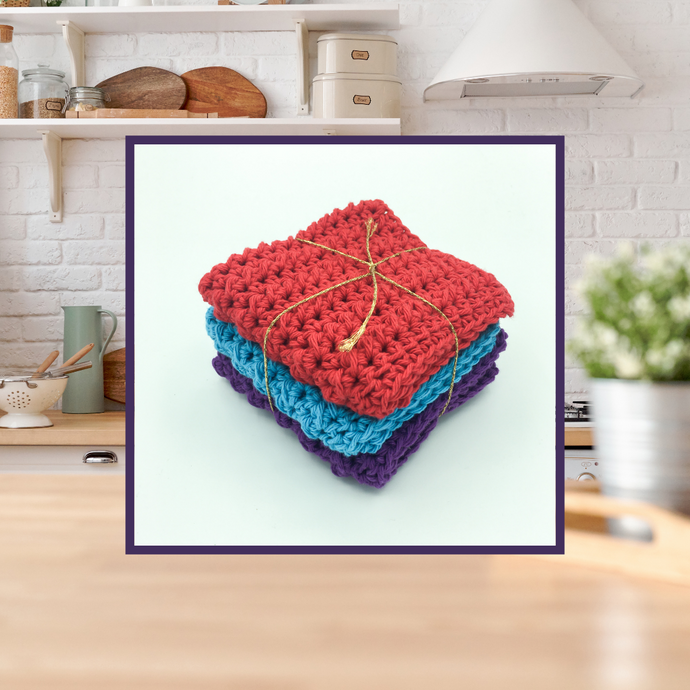 Crocheted Dishcloth Set - Berry Delight