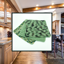 Load image into Gallery viewer, Crocheted Dishcloth Set - Camo