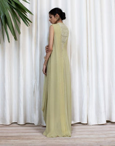 Georgette Cowl Drape Long Dress