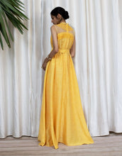 Load image into Gallery viewer, Tie-knot High Low Yellow Dress