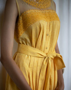 Tie-knot High Low Yellow Dress