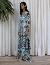 Load image into Gallery viewer, Blue Digital Print High-low Dress