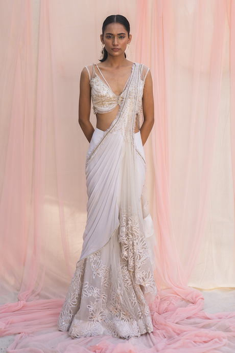 Georgette Saree in Ivory
