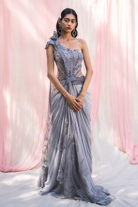 Grey Georgette Gown