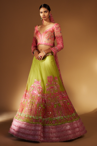 Ivory (Pink and Green) Lehenga