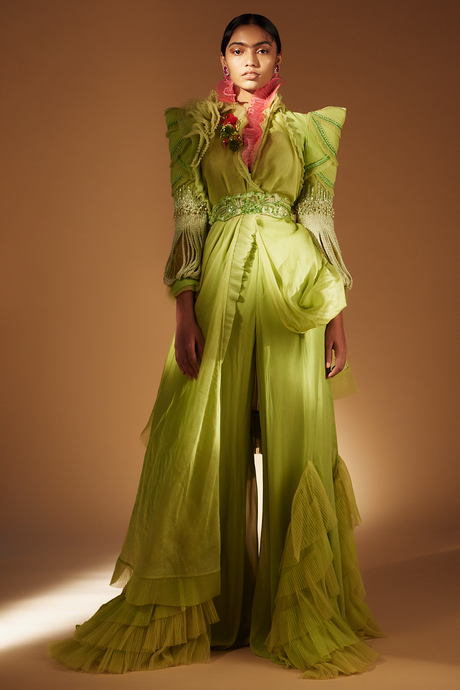Lime Green Dress With Palazzo