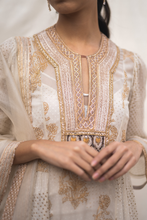 Load image into Gallery viewer, Georgette Kurta Set in Ivory & Gold