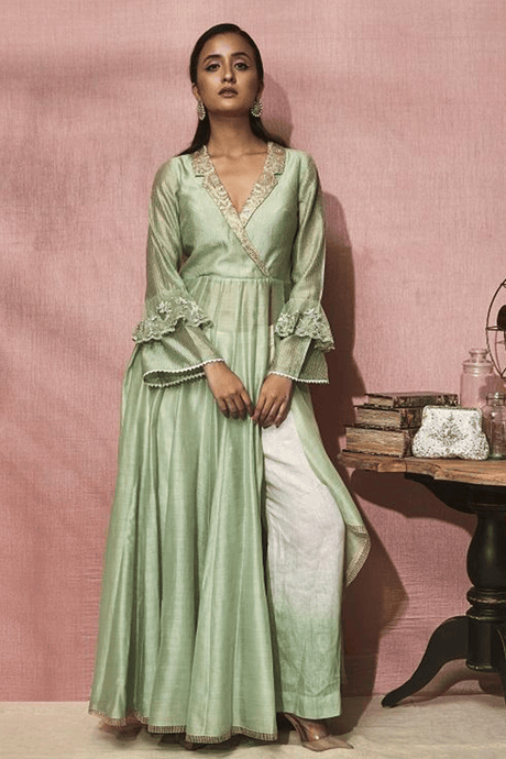 Shades of Green Slit Suit with Linen Pallazo Pants