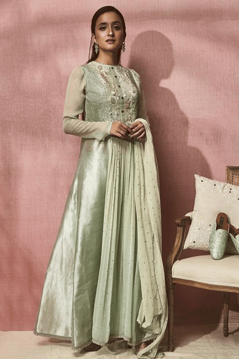 Pista Green Embroidered Anarkali with Lycra Pants