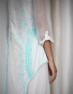Silk White Dress with Blue Threadwork