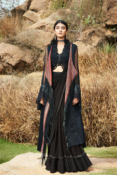 Embroidered Coat with Bustier and Stitched Saree