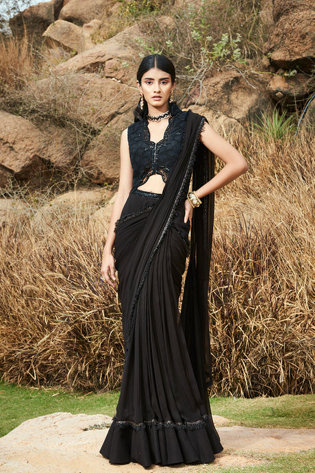Bustier Blouse and Pre-stitched Saree