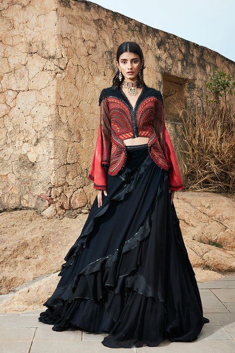 Embroidered Jacket with Layered Skirt