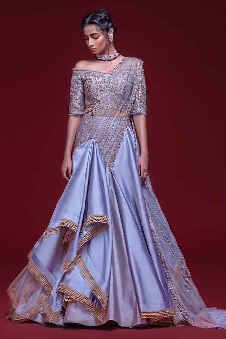 Blue-Grey Trail Gown