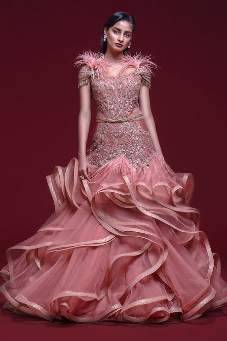 Frills and Feathers Gown