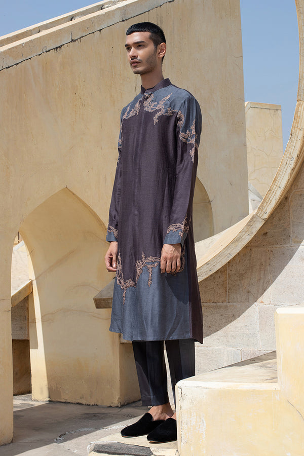 Abstract Thread Work Kurta Set