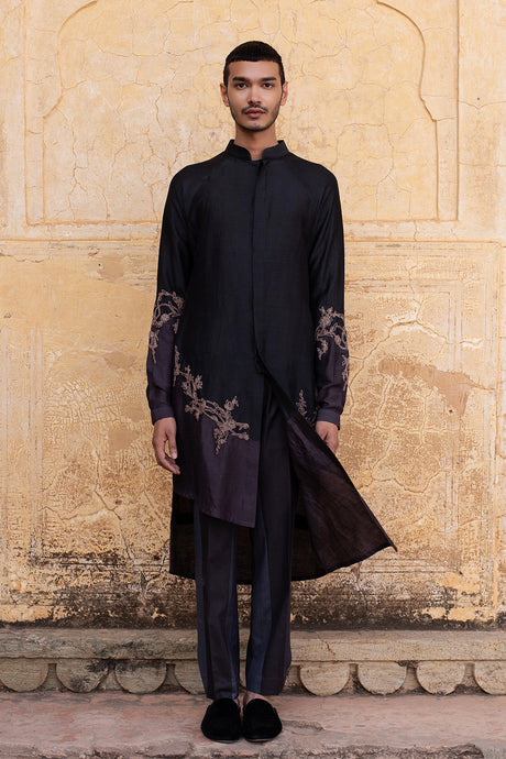Button Up Black-Grey Kurta Set