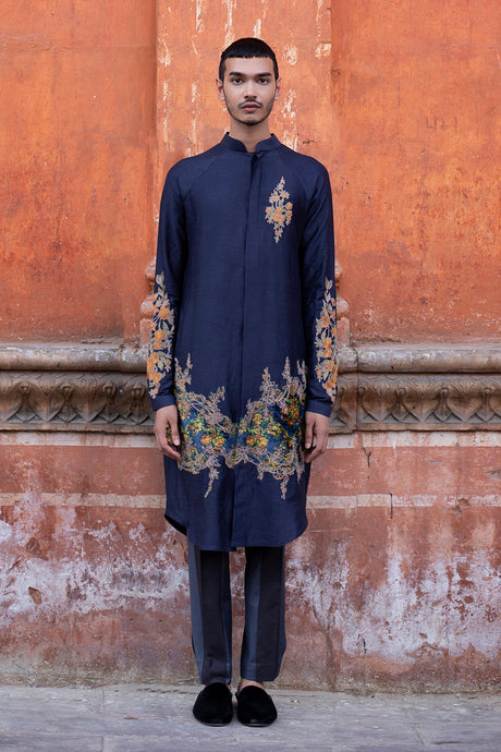 Blue Silk Kurta with Beige Thread Work