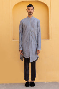 Asymmetric Pintex Kurta in Greyish-Blue Colour