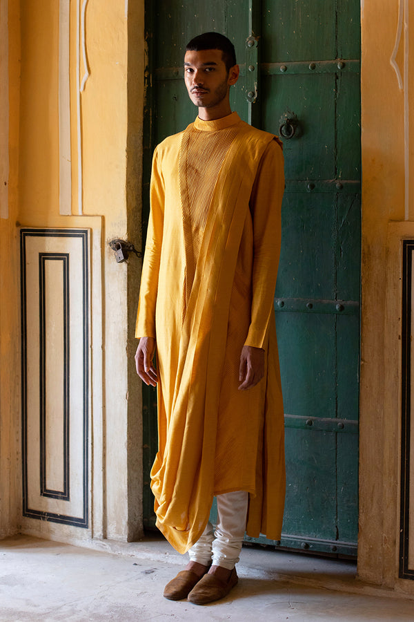 Long Cowl Drape Kurta Set