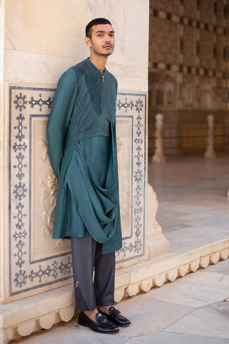 Olivegreen Draped Kurta with Pintex Work