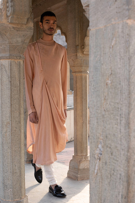 Peach Drape Kurta with Ivory Churidaar
