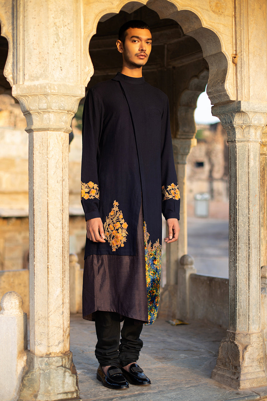 High Neck Floral Patchwork Kurta