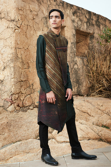 Asymmetrical Jacket Concept with Olive Kurta and Ghungroo Detailing