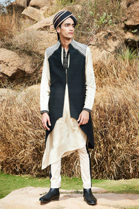 Monochrome Asymmetric Kurta Set