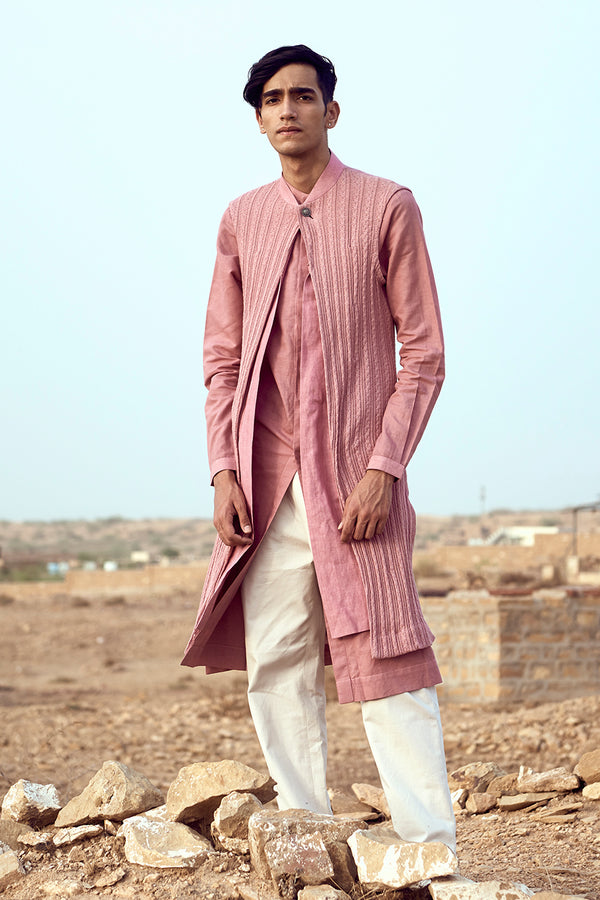 Slit Kurta with Long Jacket Set