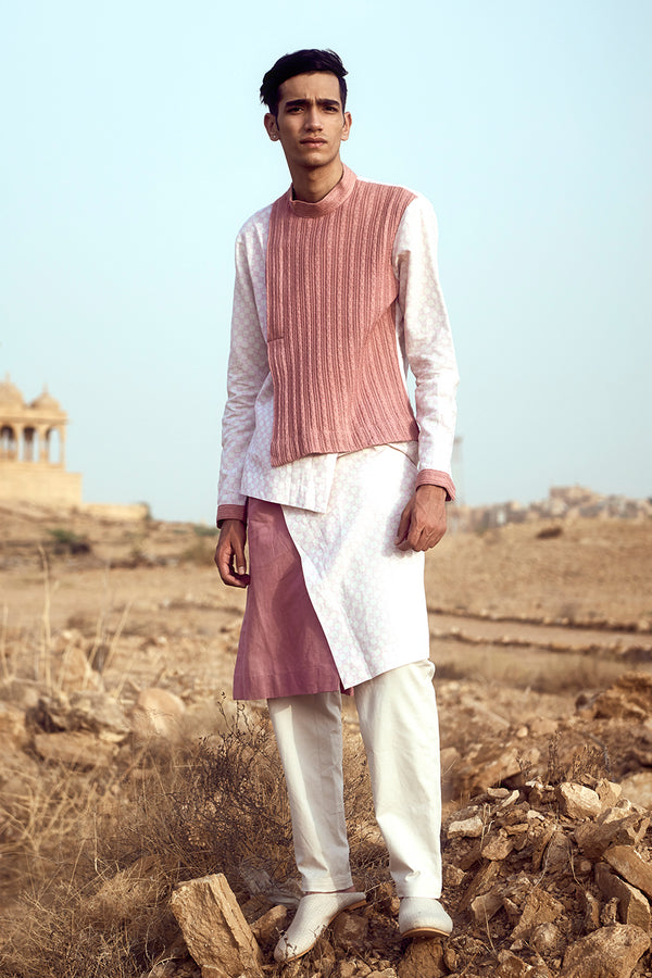 Mutliple Handlooms Asymmetric Kurta Churidaar Set