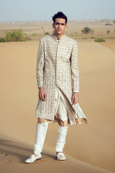 Jaal Embroidery Raw Silk Sherwani