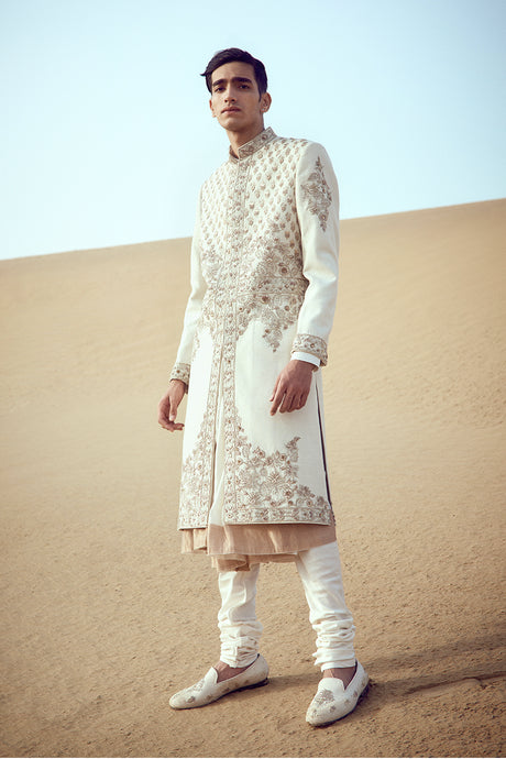 Raw Silk Embroidered Sherwani