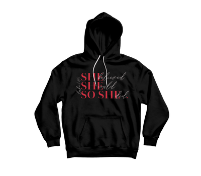 "**Pre Order** She Believed Hoodie ""Electric Red"" - Vision Apparel Inc."