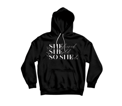 "She Believed Hoodie ""Cookies & Cream"" - Vision Apparel Inc."
