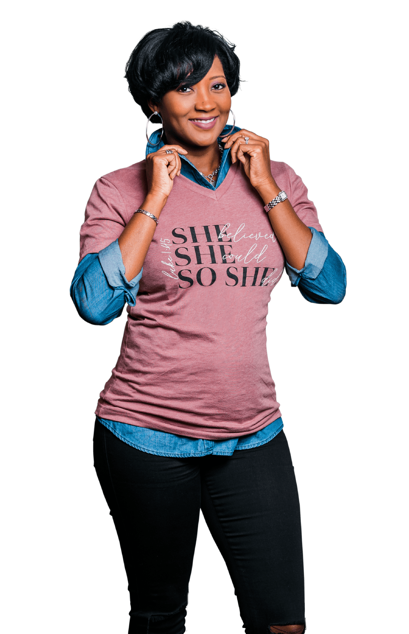 She Believed Premium V-Neck Shirt - Vision Apparel Inc.