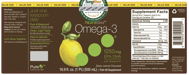 NutraSea, Omega-3, Zesty Lemon Flavor, 16.9 lf oz (500ml)