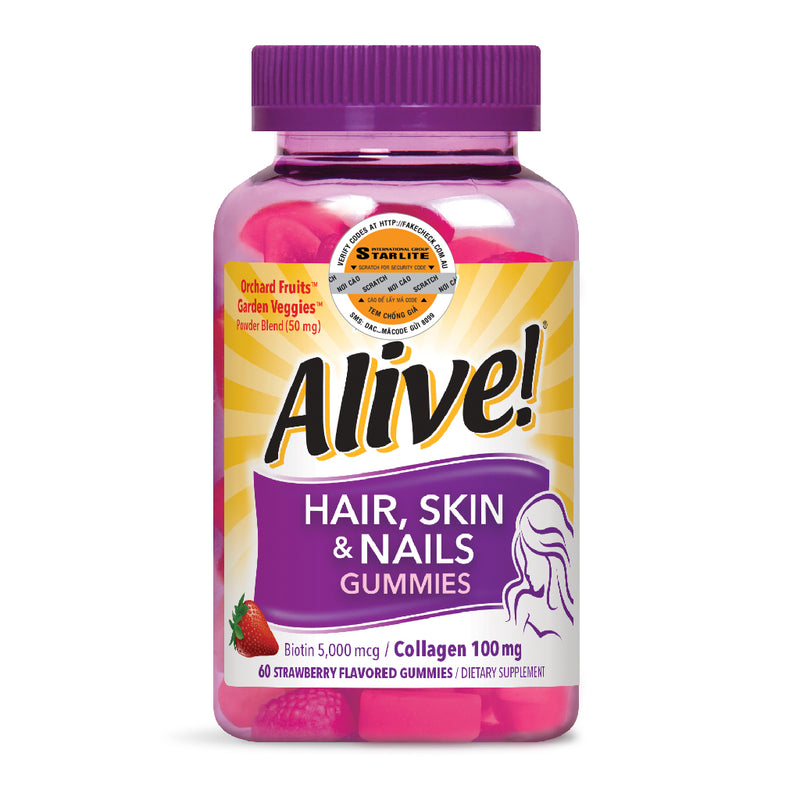 Alive Hair Skin & Nail Gummy 60 CT