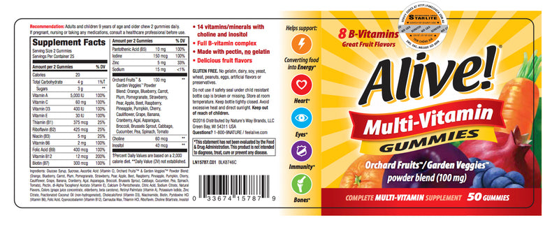 Alive Multi-Vitamin Gummies 50 CT