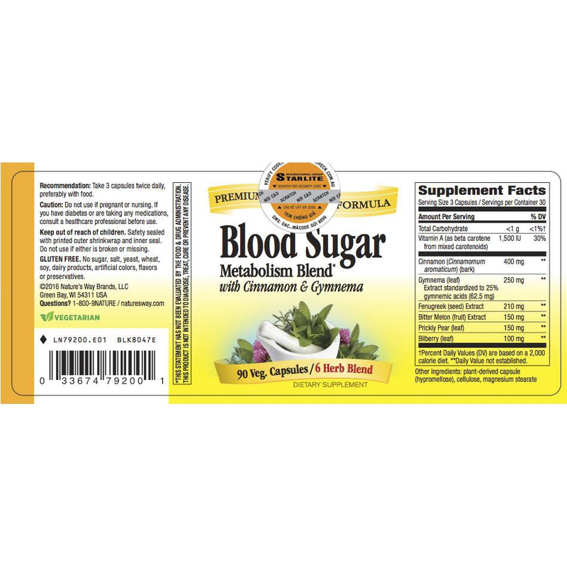 Nature's Way Blood Sugar 90 vcaps